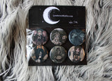 Gothic Pin Button set -Lowbrow misfits White Stag Art