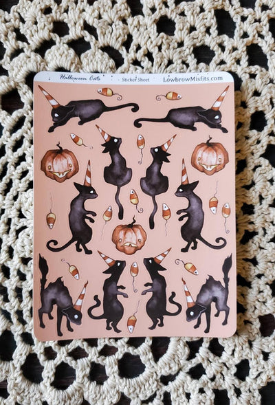 Halloween cat STICKER sheet