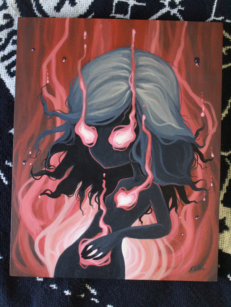 Heart Burn- ORIGINAL painting -Lowbrow misfits White Stag Art