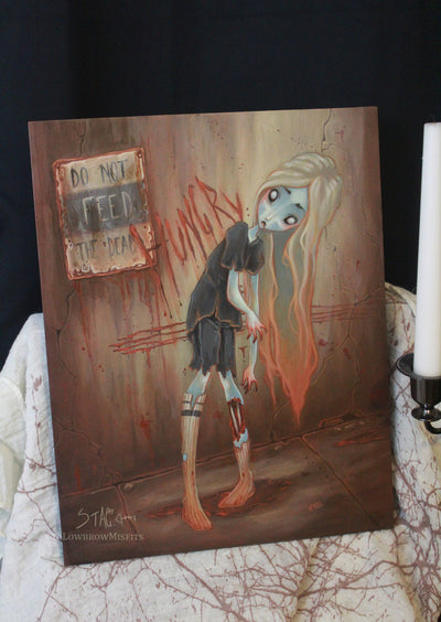 Hunger- Original lowbrow zombie painting -Lowbrow misfits White Stag Art