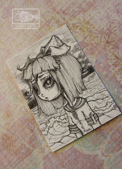 Smell of Salt- Original nautical ACEO -Lowbrow misfits White Stag Art