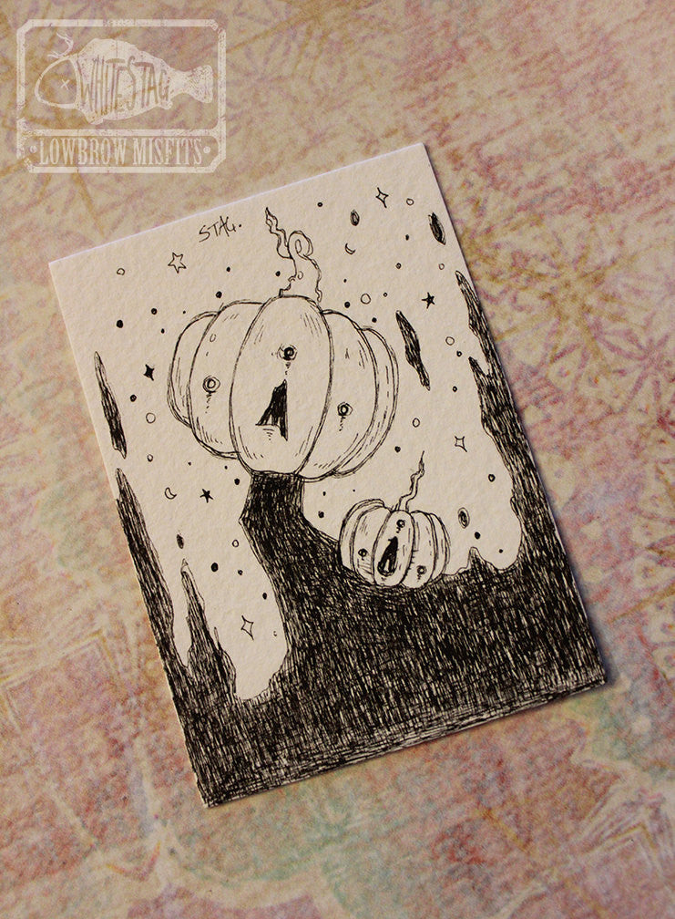 Jacks- Original Jackolantern ACEO -Lowbrow misfits White Stag Art
