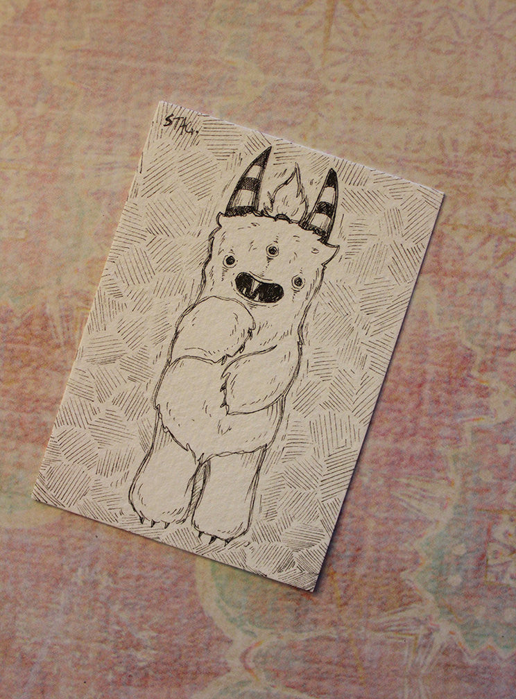 Tik the yeti - Original ACEO -Lowbrow misfits White Stag Art