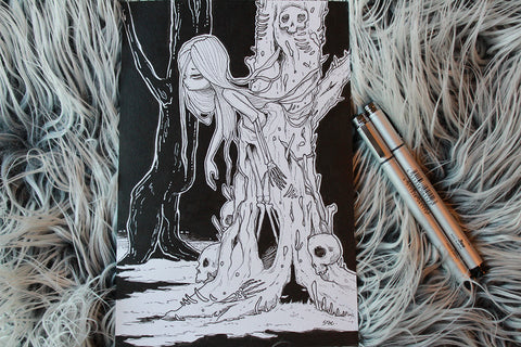 Inktober Day 14- The Bone Tree -Lowbrow misfits White Stag Art