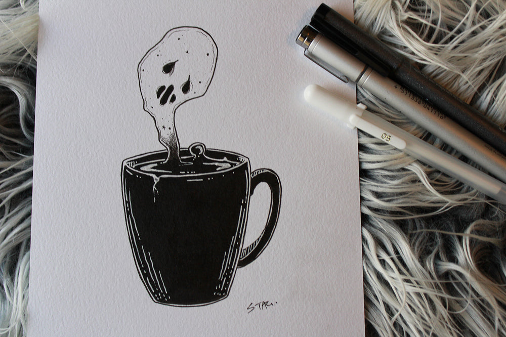 Inktober Day 18- Coffee Ghost -Lowbrow misfits White Stag Art