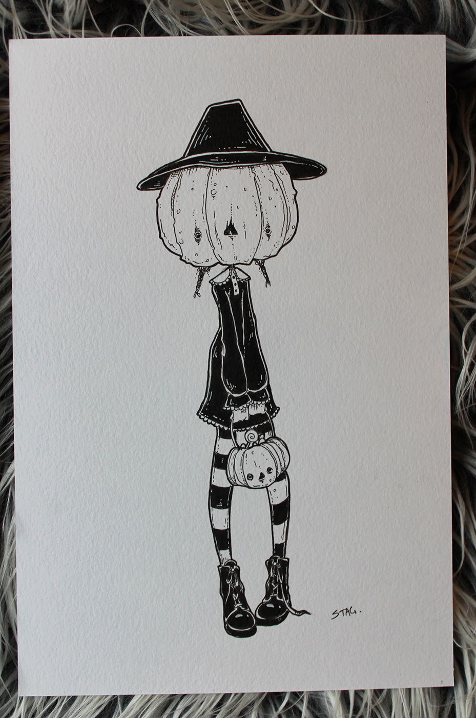 Inktober Day 4- Pumpkin Girl -Lowbrow misfits White Stag Art