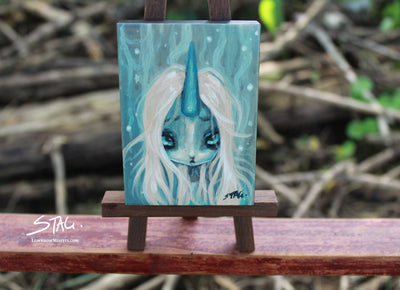 Unicorn girl Original mini painting -Lowbrow misfits White Stag Art