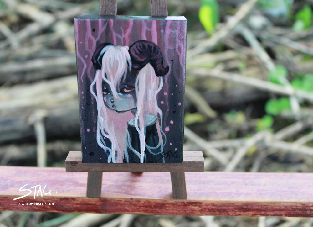 Goat girl Original mini painting -Lowbrow misfits White Stag Art