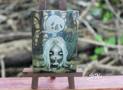 Ghost girl Original mini painting -Lowbrow misfits White Stag Art
