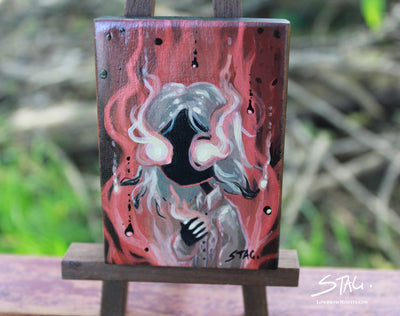 Flaming Girl Original mini painting -Lowbrow misfits White Stag Art