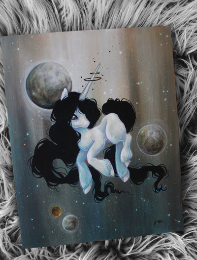 Moons- space unicorn ORIGINAL painting -Lowbrow misfits White Stag Art
