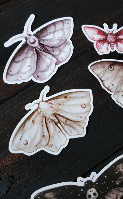 MOON moth STICKER pack