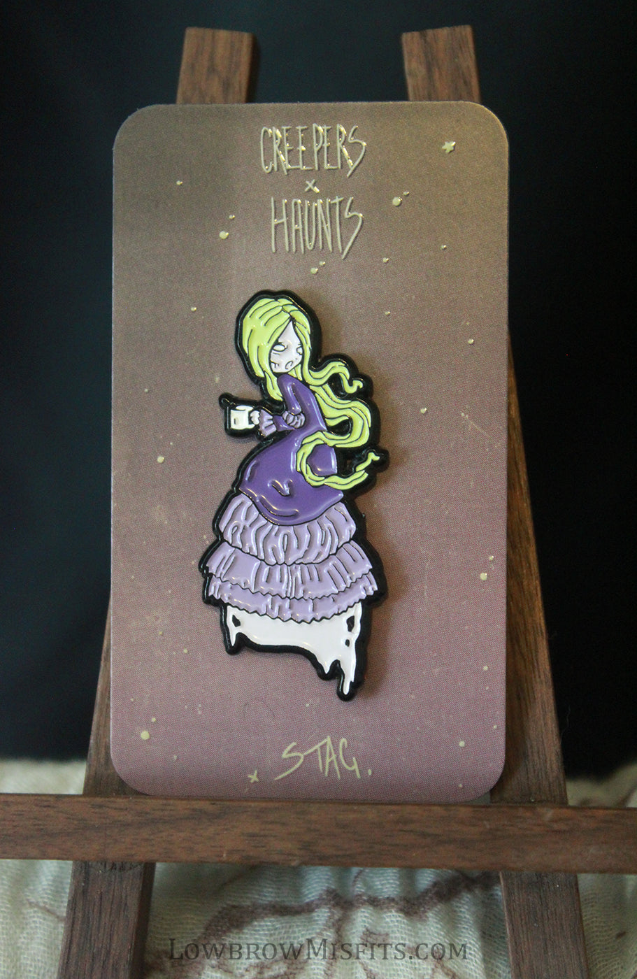 Mourning brew Enamel pin -Lowbrow misfits White Stag Art