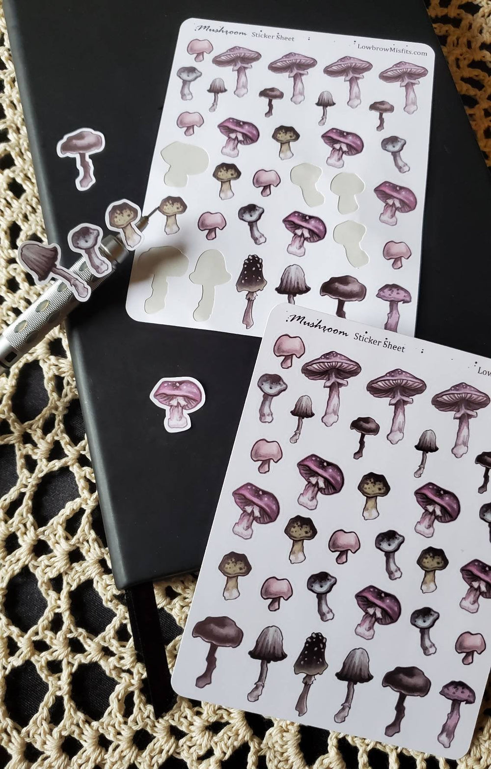 MUSHROOM STICKER sheet -Lowbrow misfits White Stag Art