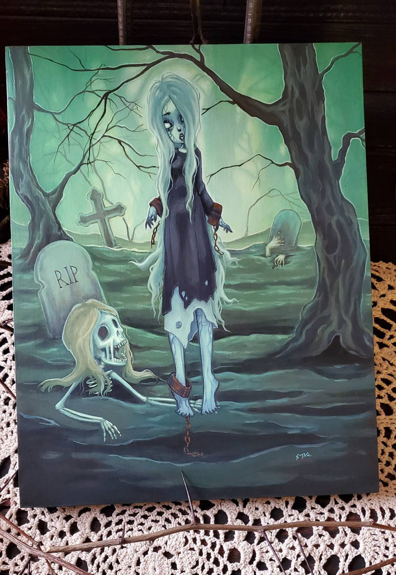 The Necromancer- Original lowbrow skeleton painting