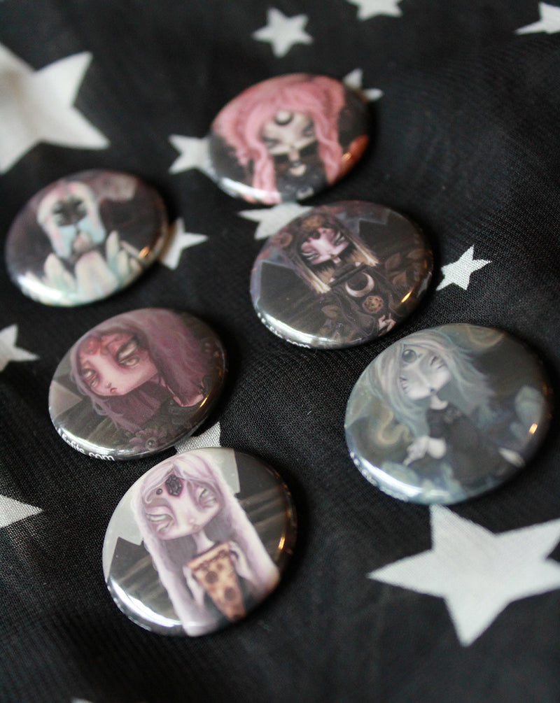 Alien Button set -Lowbrow misfits White Stag Art