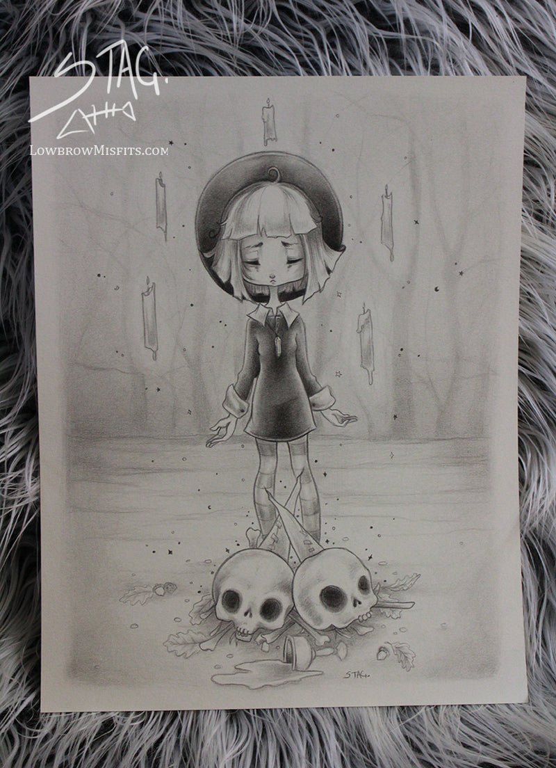 Of Dirt and Bone original witch sketch -Lowbrow misfits White Stag Art