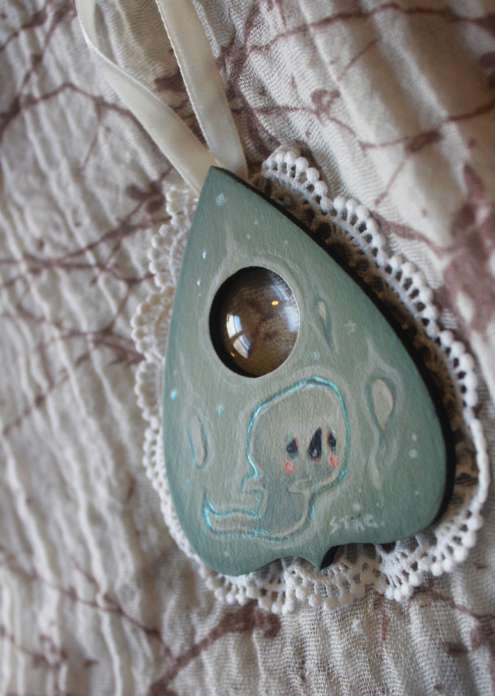 Ghost planchette mini painting