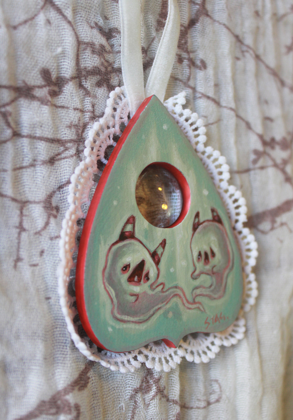 Peppermint Ghost planchette and coffin mini paintings -Lowbrow misfits White Stag Art