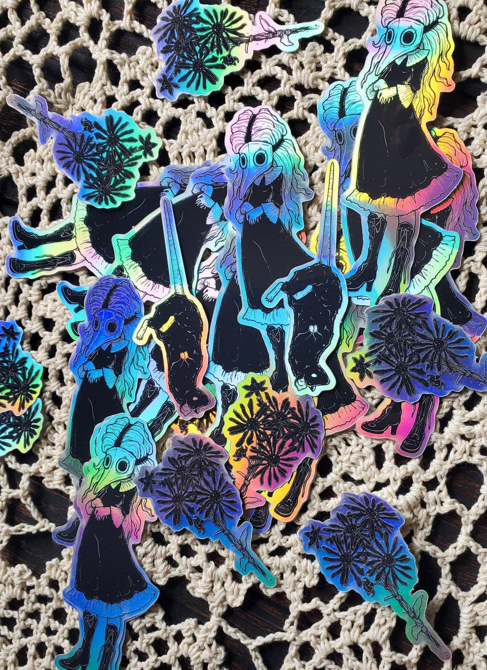 plague doctor holographic STICKER pack -Lowbrow misfits White Stag Art