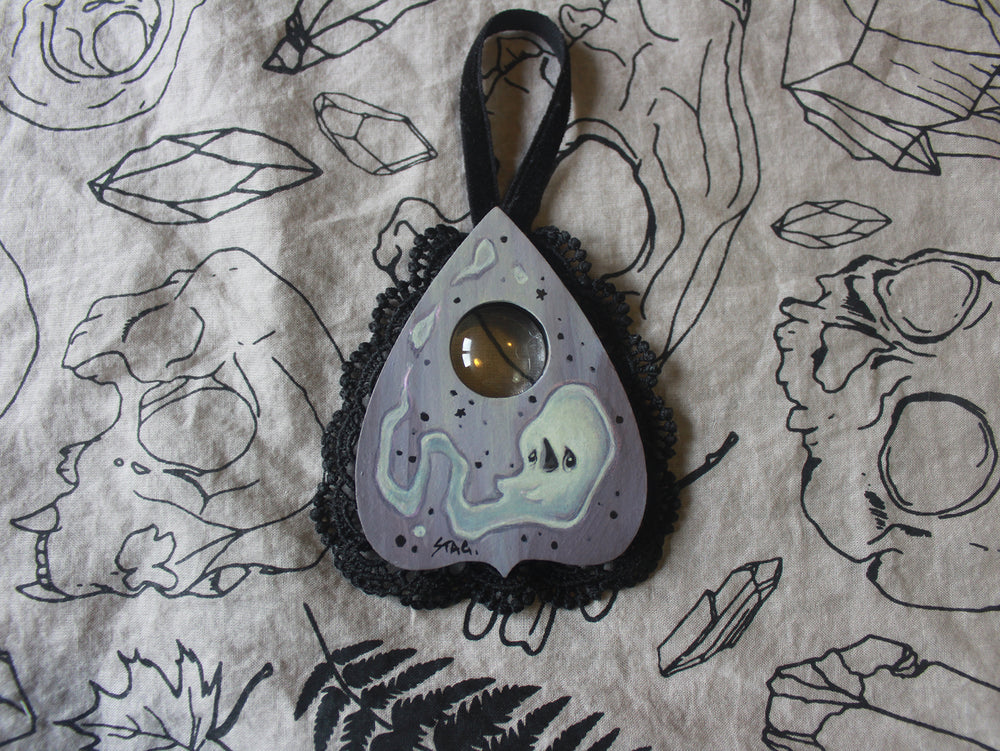 Ghost planchette mini painting -Lowbrow misfits White Stag Art