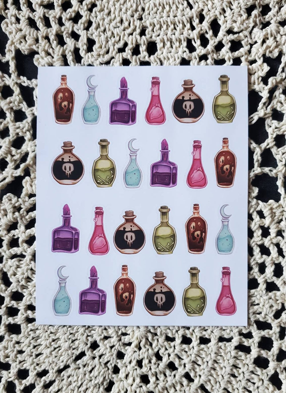 Potion bottle STICKER sheet -Lowbrow misfits White Stag Art