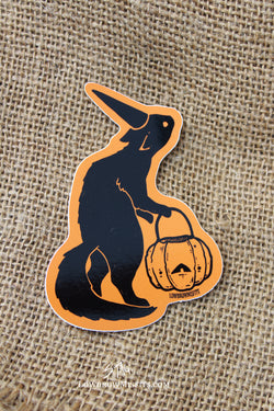 Halloween Pumpkin Cat sticker -Lowbrow misfits White Stag Art