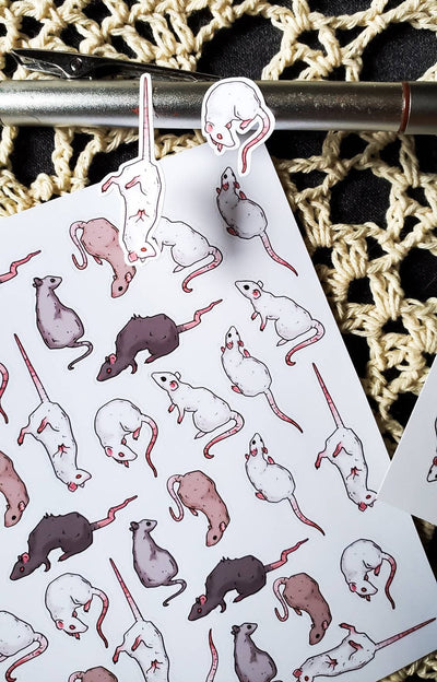 Rats STICKER sheet -Lowbrow misfits White Stag Art
