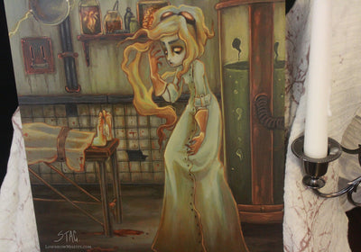 The Reanimator- Original lowbrow mad scientist painting -Lowbrow misfits White Stag Art