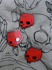Red devil enamel skull pin