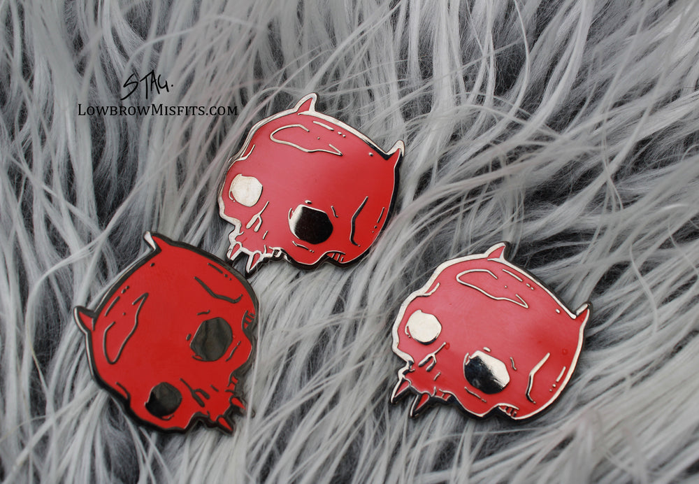 Red Devil Enamel pin -Lowbrow misfits White Stag Art