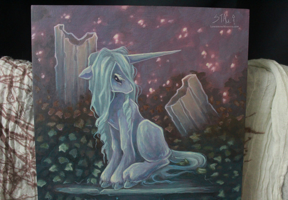 Ruin II- Unicorn ORIGINAL painting -Lowbrow misfits White Stag Art