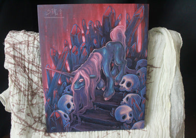 Ruin I- Unicorn crystal ORIGINAL painting -Lowbrow misfits White Stag Art