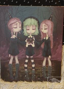 The Sisters- Original Witch painting -Lowbrow misfits White Stag Art