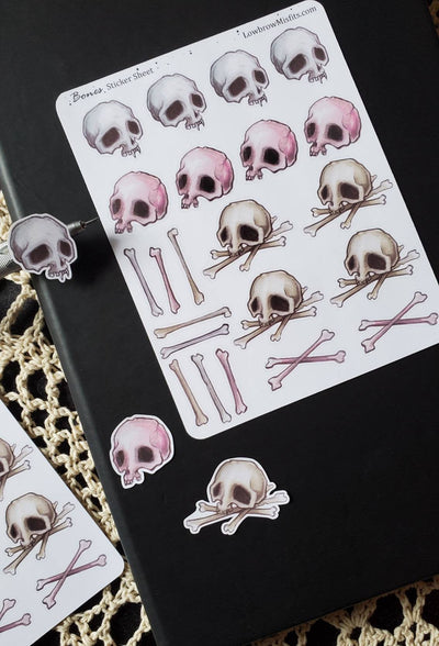 SKULL bones STICKER sheet -Lowbrow misfits White Stag Art