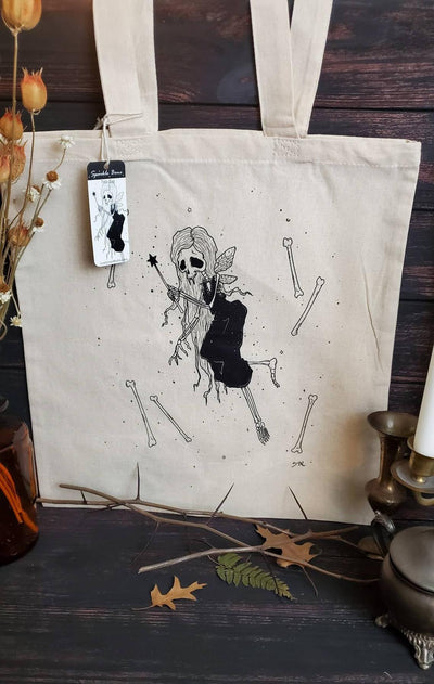 Sparkle Bone Skeleton Fairy Tote Bag