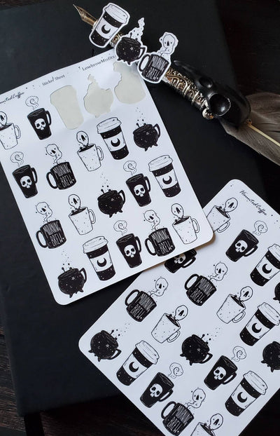 Spooky Brew Coffee STICKER sheet set