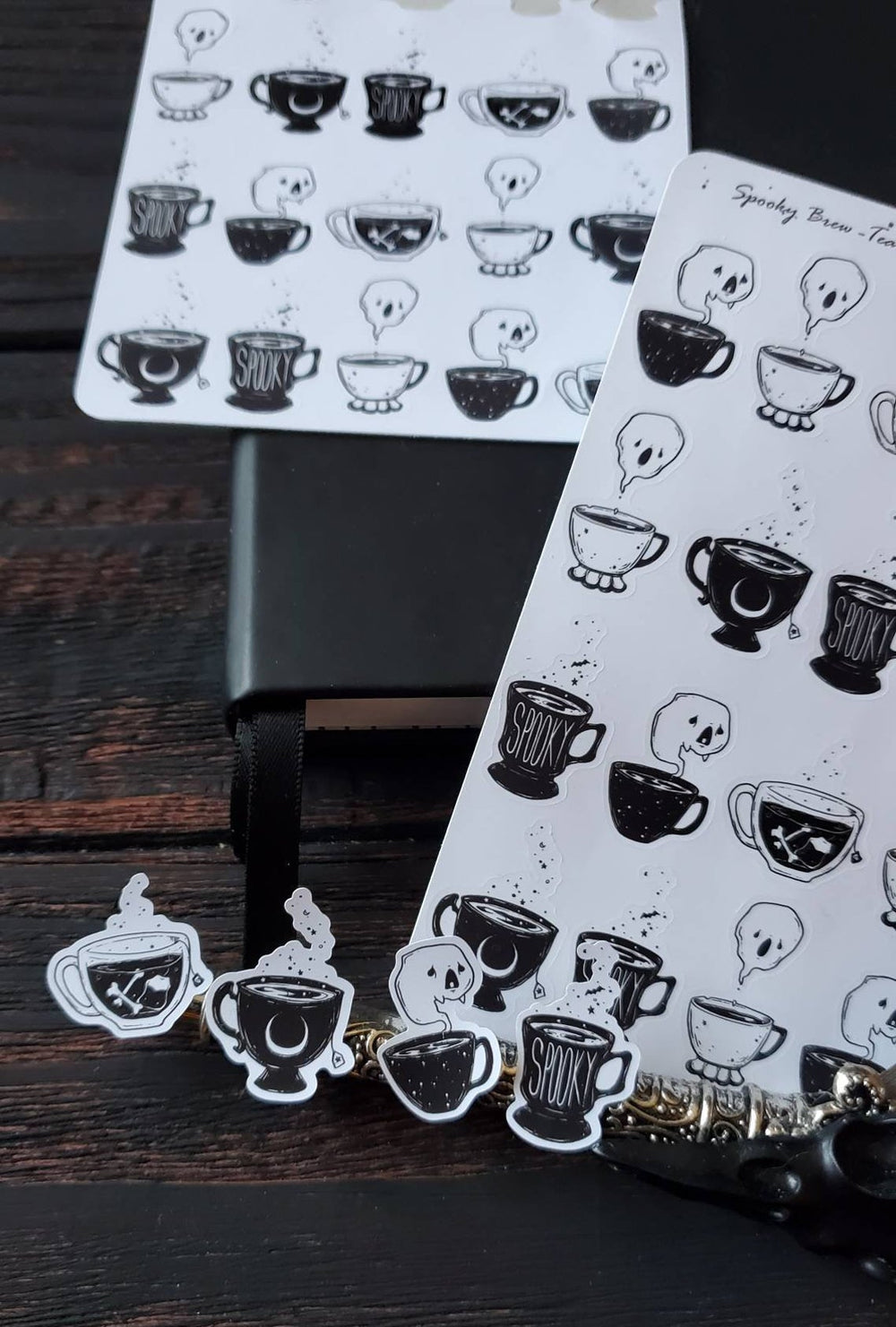 Spooky Brew TEA sticker sheet set