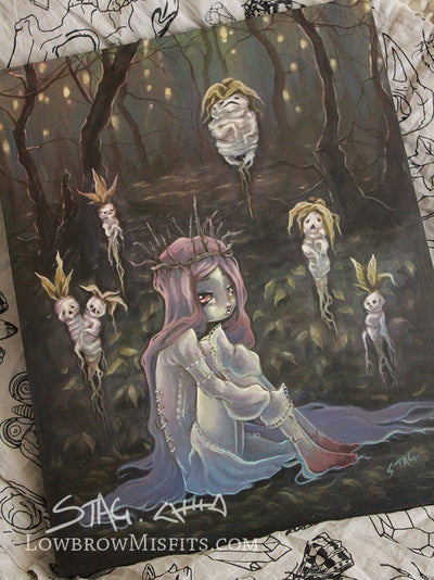 The Blood Seed- Original lowbrow gothic painting -Lowbrow misfits White Stag Art