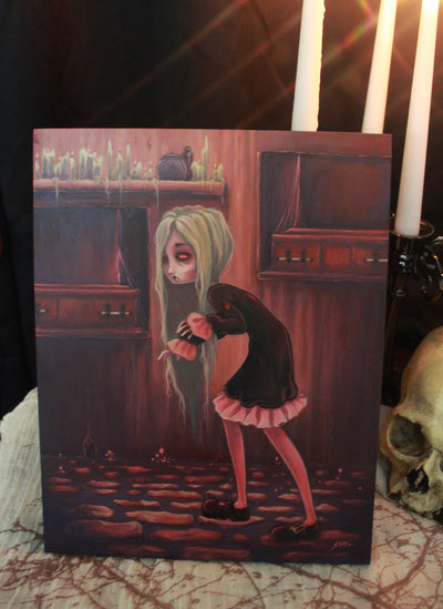 The Creeper- Original lowbrow vampire gothic painting -Lowbrow misfits White Stag Art