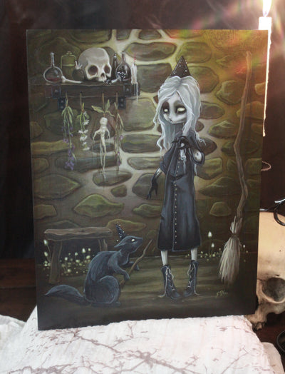 The Dark Conjurer- Original witch lowbrow gothic painting -Lowbrow misfits White Stag Art