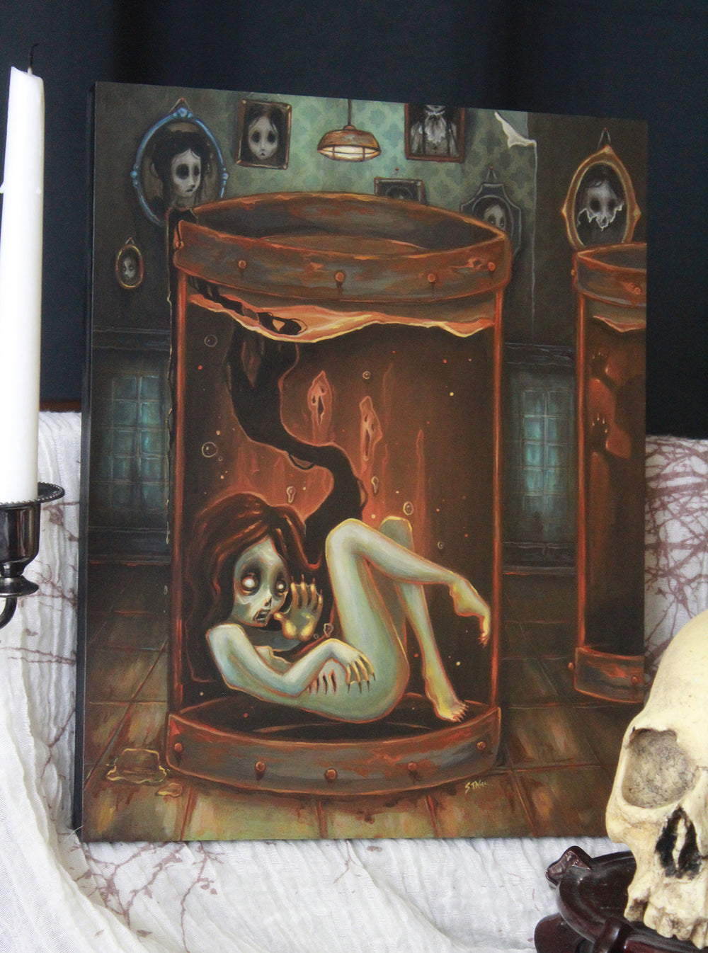 The Doctor's Wife- Original lowbrow gothic painting -Lowbrow misfits White Stag Art