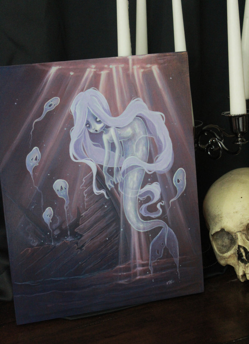 The Ghost Ship- Original mermaid lowbrow painting -Lowbrow misfits White Stag Art
