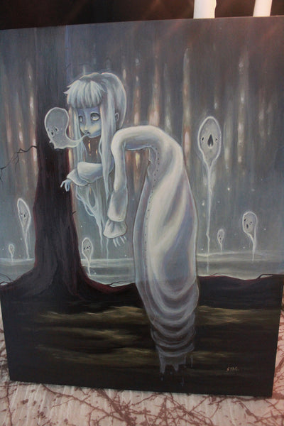 The Haunter- Original lowbrow ghost gothic painting -Lowbrow misfits White Stag Art