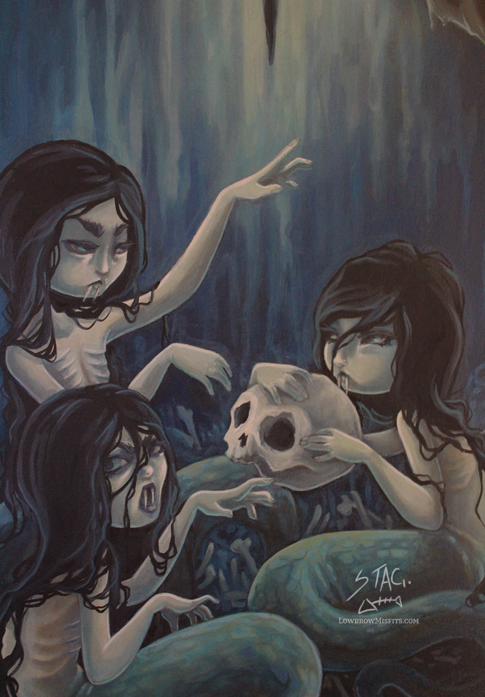 The Lair- Original mermaid serpent painting -Lowbrow misfits White Stag Art