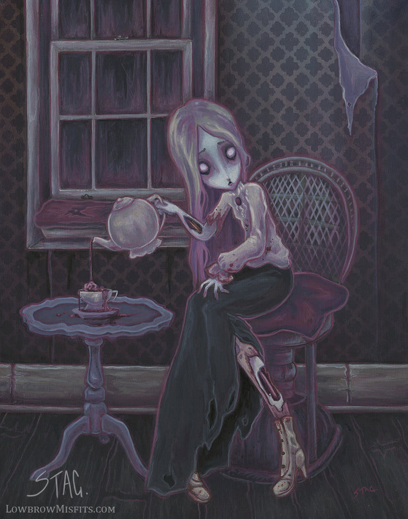 Time for Tea- zombie girl art print -Lowbrow misfits White Stag Art