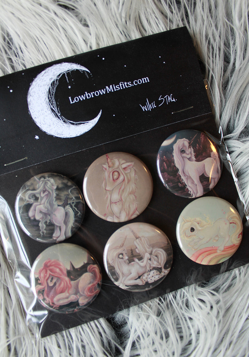 Unicorn Pin Button set -Lowbrow misfits White Stag Art