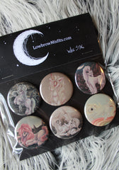 unicorn button badge set by white stag art