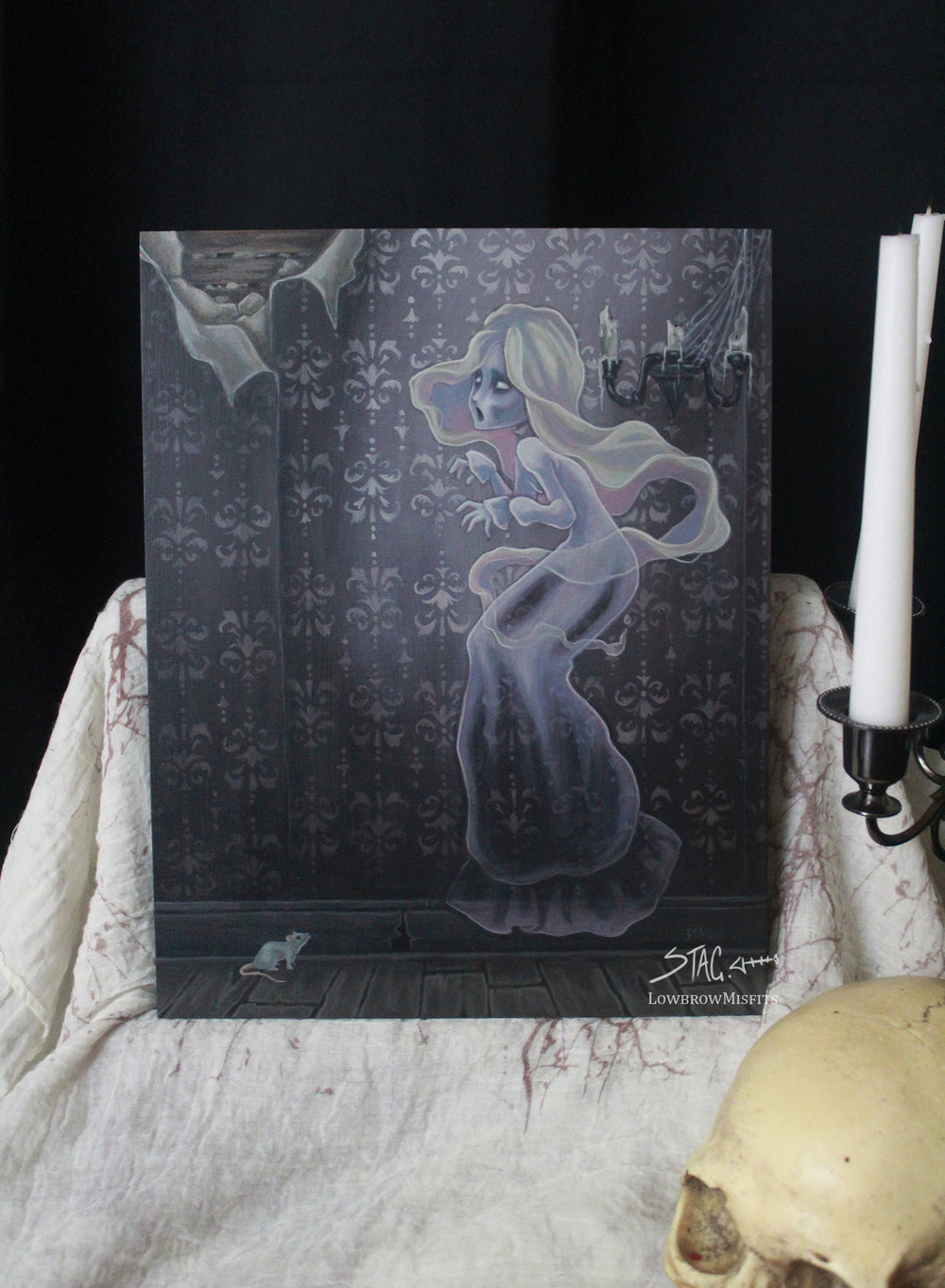 Wailing Halls- Original lowbrow banshee painting -Lowbrow misfits White Stag Art