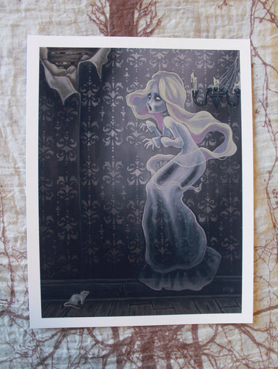 Wailing Halls lowbrow gothic ghost print -Lowbrow misfits White Stag Art